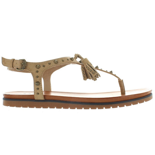 MIA Yelena - Cement Leather T-Strap Tassel Thong Sandal