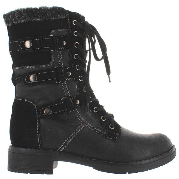 Wanted Alpine - Black Pile-Lined Combat Boot
