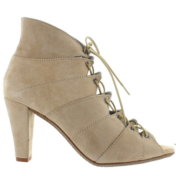 Eric Michael Blanca - Bone Suede Caged Lace-Up Bootie