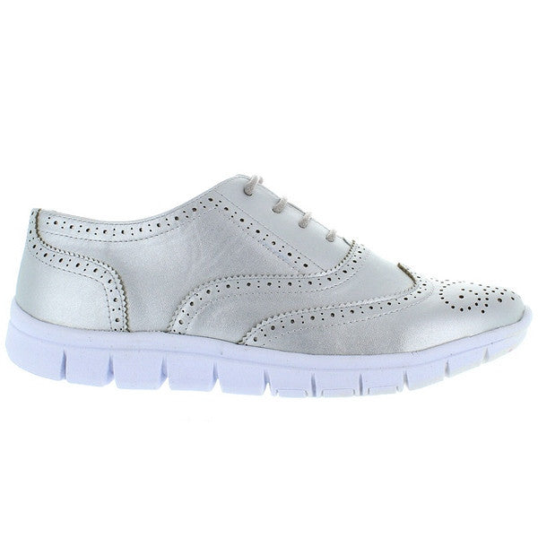 Wanted Corcoran - Silver Perf Wing-Tip Athleisure Oxford