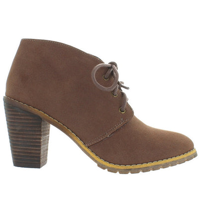 Restricted Petal - Taupe Lace-Up Mid-Heel Oxford Bootie