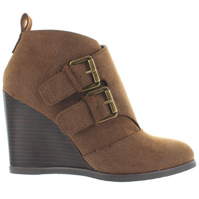 Restricted Winkie - Brown Dual-Buckle Wedge Bootie