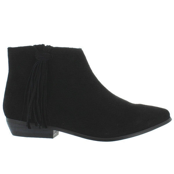 Coconuts Cody - Black Suede Side Fringe Bootie