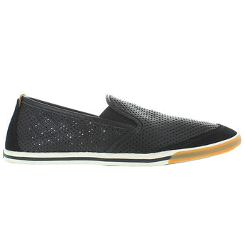 Clarks Mego Slip - Black Leather Athleisure Pull-On