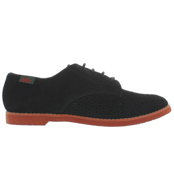 Bass Ellie - Black Suede Laser-Cut Oxford