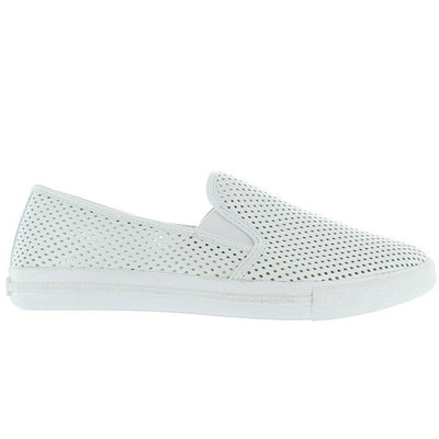 Steve Madden Virgoo - White Perforated Athleisure Loafer