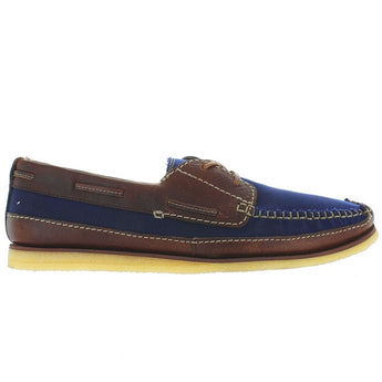 Clarks Originals Craft Row - Navy Marine Canvas/Brown Leather Boat Moc