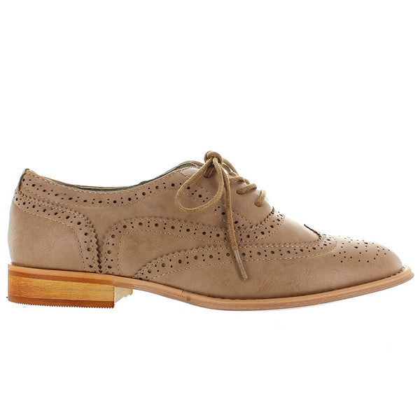 Wanted Babe - Taupe Wing-Tip Lace-Up Oxford