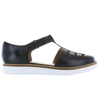 Clarks Glick Delta - Black Leather T-Strap Low Wedge Shoe