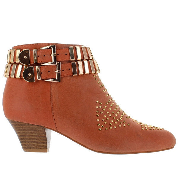 Jeffrey Campbell Benatar - Orange Leather Hardware/Stud Embellished Bootie
