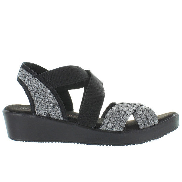 B. Mev Lisa - Pewter Crisscross Elastic Slip-On Wedge Sandal