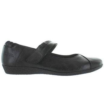 Taos Strapeze - Black Leather Mary Jane Low Comfort Wedge