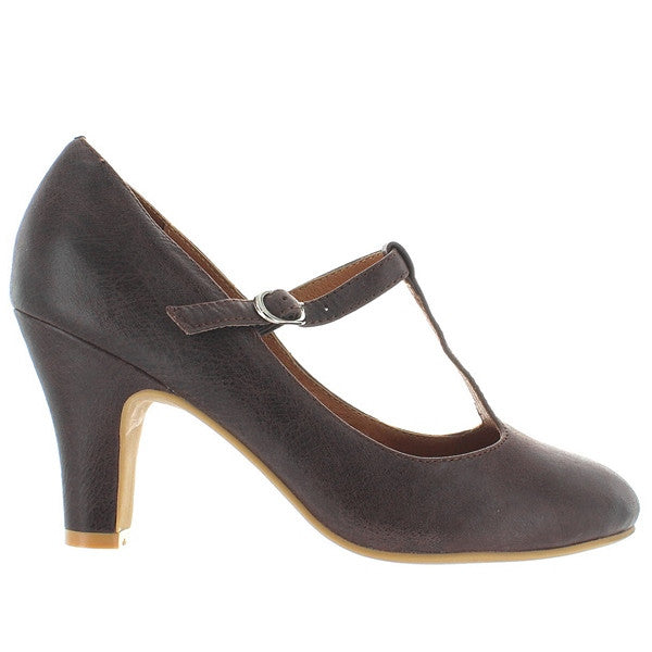 Jeffrey Campbell Lizbeth - Brown Leather T-Strap Pump