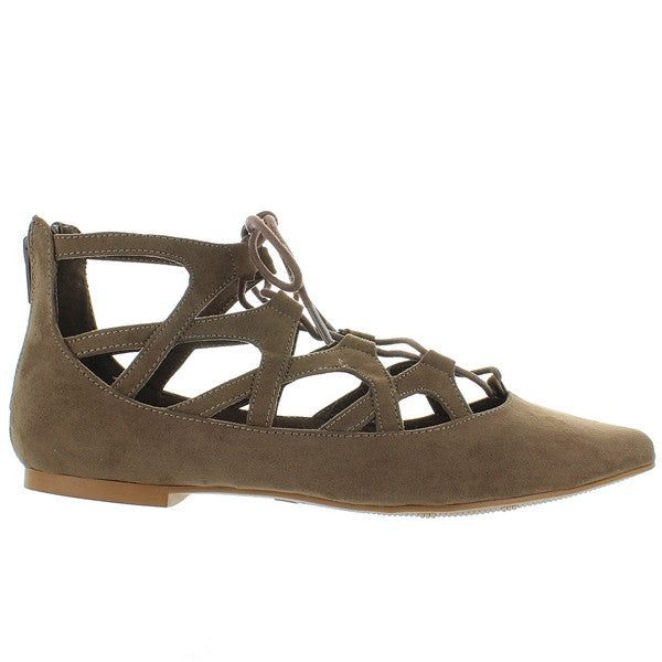 MIA Anamarie - Taupe Nova Suede Caged Lace-Up Flat