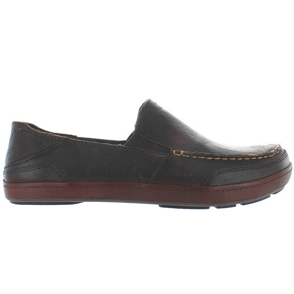 OluKai Puhalu - Dark Wood/Toffee Leather Slip-On