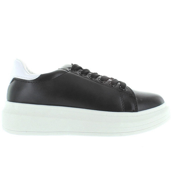 Wanted Chervil - Black/White Lace-Up Platform Wedge Sneaker