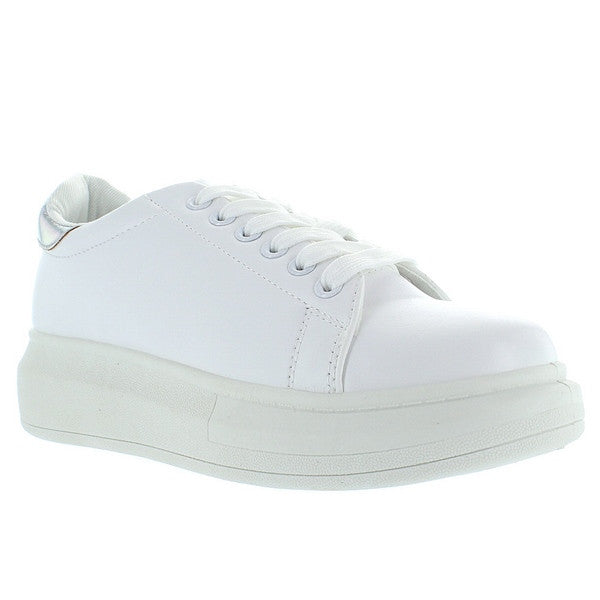 ... Wanted Chervil - White Silver Lace-Up Platform Wedge Sneaker ...