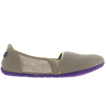 NoSox Meshpadrille - Taupe/Purple Nylon Mesh Athleisure Slip-On