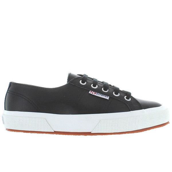 Superga 2750 - Black Leather Lace-Up Sneaker