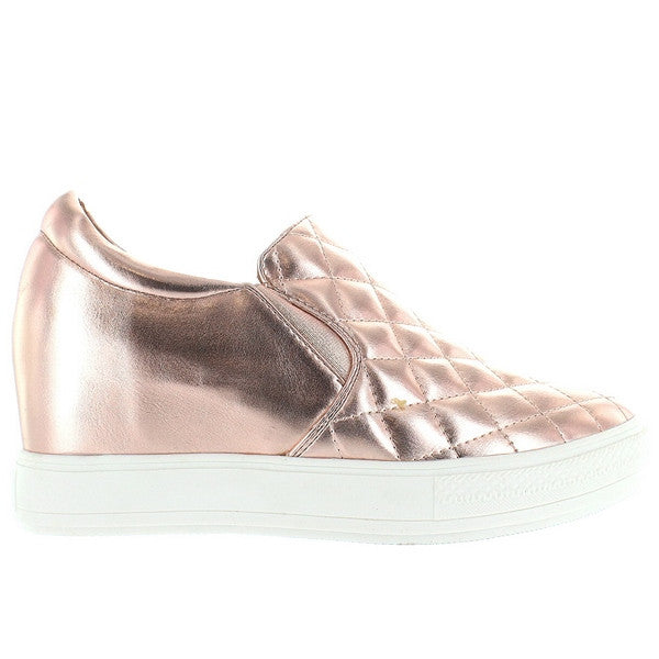 Wanted Bushkill - Rose Gold Quilted Platform/Wedge Pull-On Sneaker