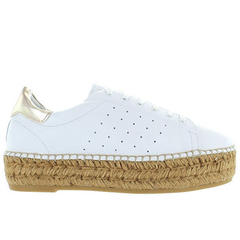Steven Pace - White/Gold Leather Platform Espadrille Sneaker