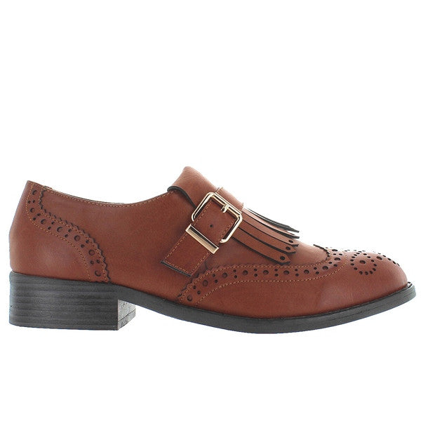 Wanted Brixton - Tan Brogue Slip-On Kilty