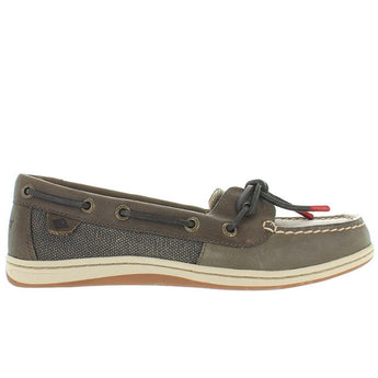 Sperry Top-Sider Barrelfish - Taupe Leather/Linen Boat Shoe