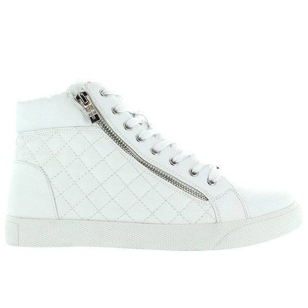 Wanted Perry - White Quilted High Top Sneaker