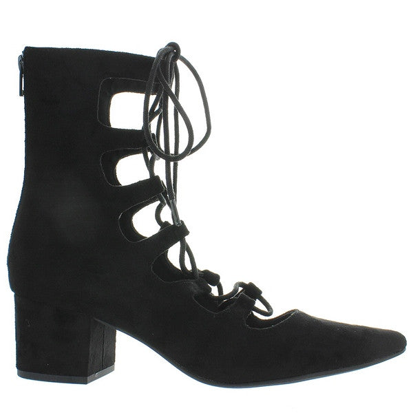 Coconuts Sonia - Black Suede Open Lace-Up Bootie
