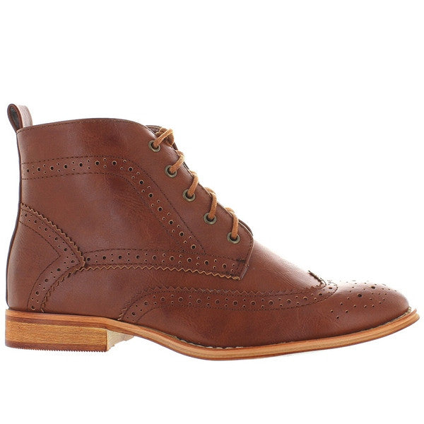 Wanted Nonna - Cognac Brogue Lace-Up Bootie
