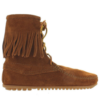 Minnetonka Tramper - Brown Suede Fringe Lace-Up Boot 422