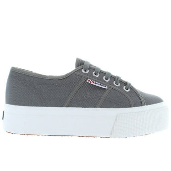 Superga 2790 ACOTW - Sage Grey Canvas Lace-Up Platform Sneaker
