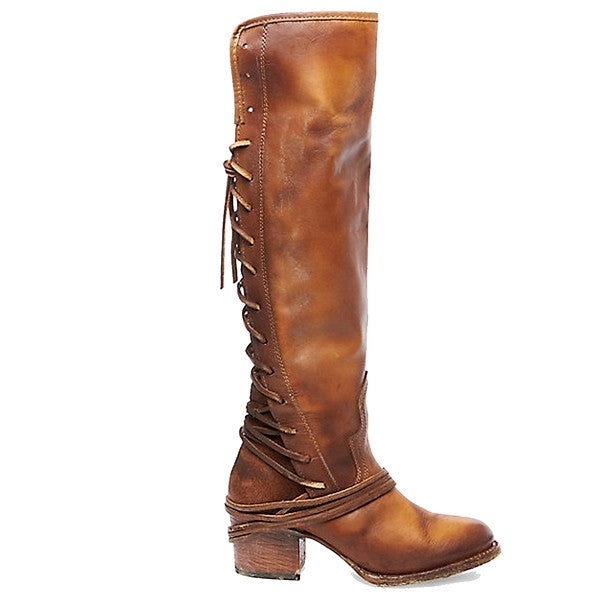 Freebird Coal - Tan Leather OTK Back Lace-Up Boot