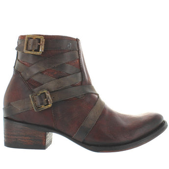 Freebird Sammi - Cognac Leather Dual Buckle Strap Spring Toe Bootie