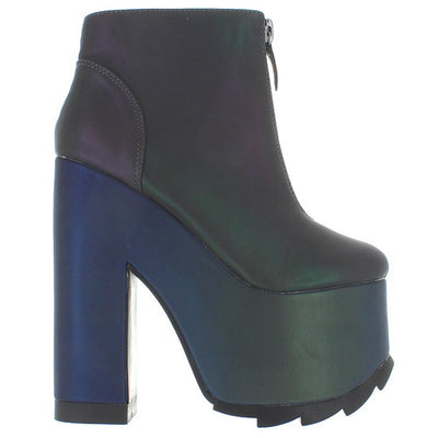 YRU Nightmare - Reflective High Platform/Heel Front Zip Bootie