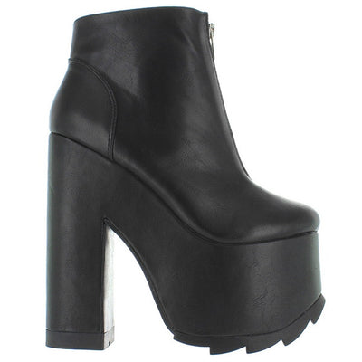 YRU Nightmare - Black High Platform/Heel Front Zip Bootie