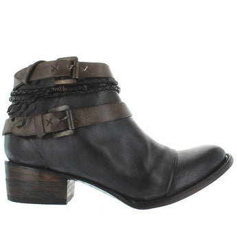 Freebird Simba - Black/Brown Leather Dual Buckle Strap Spring Toe Bootie