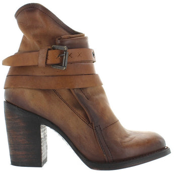 Freebird Blaze - Cognac Leather Triple Strap High Block Heel Bootie