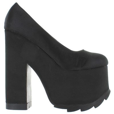 YRU Nitte - Black Satin High Platform/Heel Pump