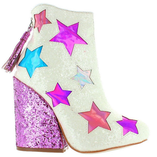 YRU Jem - White/Glitter Multi-Color Stars Back Zip Bootie