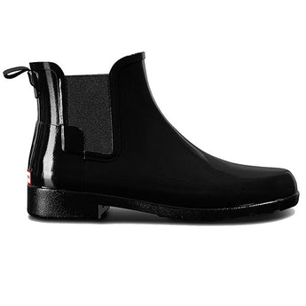 Hunter Refined Chelsea - Gloss Black Pull-On Short Rain Bootie