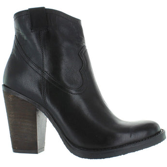 Musse & Cloud Josie - Black Leather High Stacked Heel Bootie
