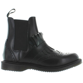 Dr. Martens Tina - Black Leather Kilty Wing-Tip Boot