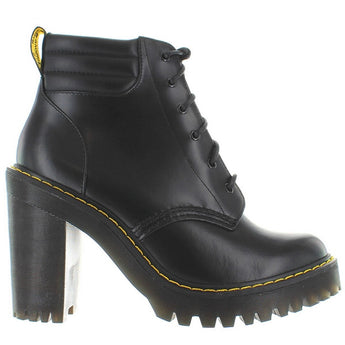 Dr. Martens Persephone - Black Leather High Chunky Heel Lace-Up Bootie