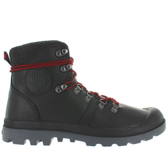 Palladium Pallabrouse Hiker - Black/Red/Castlerock Leather Hiking Boot 05139-041