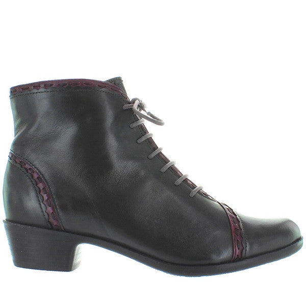 Spring Step Jaru - Dark Grey Leather Lace-Up Bootie