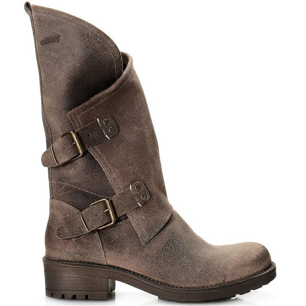 Coolway Alida - Dark Brown Leather Slouchy Dual Buckle Boot