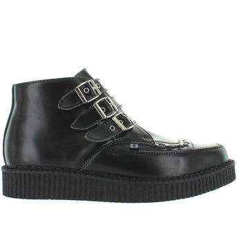 T.U.K. Buckle Pointed Creeper - Black Leather Triple Buckle High Top Boot