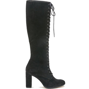 Matisse Princely - Black Suede Tall Lace-Up Boot