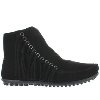 Minnetonka Willow - Black Suede Side Fringe Moc Bootie 669